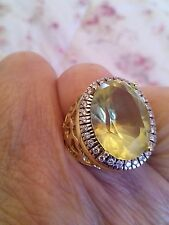 REDUCED 18 carat Gold genuine diamond ring and citrine stone  size  /N