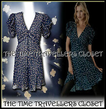KATE MOSS VINTAGE 40s WW2 TOPSHOP NAVY BLUE BEIGE CLOVER TEA DRESS SLIP UK 12 14
