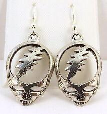 Pewter Grateful Dead Skull Charms on St Silver Ear Wire Dangle Earrings -5204