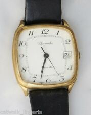 Thermidor Men's Swiss Watch Date Gold Tone Case Black Leather Strap