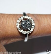 0.80 TCW Natural Uncut Raw Rough Diamond ring 925 silver fine Engagement N R