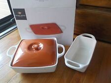 Michael Graves Covered Baking Dish 9 x 9  & Loaf Pan Porcelain- New!