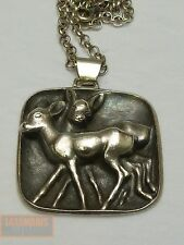 VINTAGE BAMBI ANHÄNGER SILBER 800 MIT KETTE REH SILVER DEER PENDANT WITH CHAIN