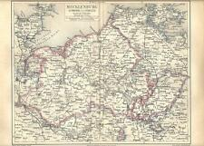 Carta geografica antica MECKLENBURG SCHWERIN e STRELITZ 1890 Old antique map