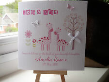 Beautiful Handmade Personalised New Baby Girl Birth Congratulations Card
