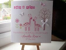 Belle handmade personnalisé nouveau bébé fille naissance félicitations carte