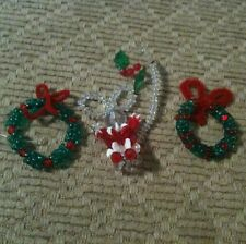 Vintage Beaded Wire Christmas Ornaments Lot Of 3