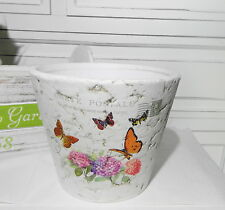 Übertopf   Blumenübertopf Schmetterling Keramik weiß bunt Landhaus neu