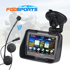 "4.3"" Touch Motorcycle Bike Motorbike GPS SAT NAV Navigation + Bluetooth Headset"