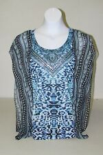 NWT Womens FYLO Blue Leopard Print Sheer Front Embellished Shirt Sz S,Small