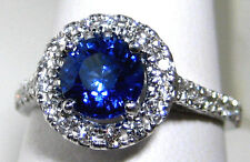 Royal Blue Sapphire Ring Halo Diamond 18K white gold 1.84ct CERTIFIED Ap $8,947