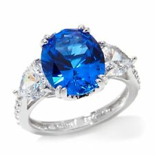 JEAN DOUSSET ABSOLUTE STERLING SIMULATED KASHMIR SAPPHIRE 3 STONE RING SZ 9 HSN