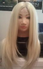 Blonde Human Hair Wig, Blend, Ombré, 613, Long, skin like top