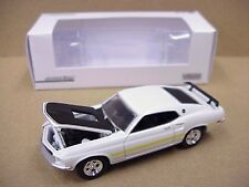 Greenlight 1969 White Ford Mustang Mach 1 has yellow stripe on side, window box