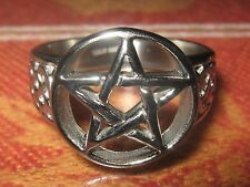NEW POLISHED STAINLESS STEEL CELTIC WICCAN PAGAN PENTAGRAM RING SIZE 9-12