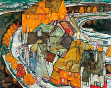 Crescent of Houses II-Island Town by Egon Schiele A2+ High Quality Art Print