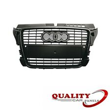FRONT MAIN CENTRE GRILLE BLACK WITH SENSOR HOLES AUDI A3 2008-2012 HIGH QUALITY