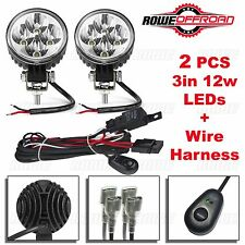 2pcs 3in 12W LED Work Light Bar Fog Offroad + Wire Harness Kit ATV SUV (FLOOD)