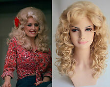 DELUXE DOLLY PARTON BLONDE CURLY BOUFFANT VOLUME PERM COSTUME FASHION WIG