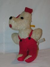 "Vintage Dan Brechner Plush Toy Dog with Red Overall Outfit 11"" Tall"