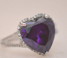 BEAUTIFUL LARGE AMETHYST HEART 14MM STONE RING Sterling Silver.925 Stamp Size 8