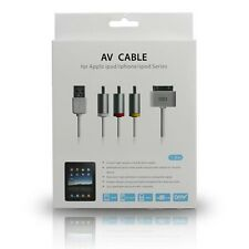 1.8M 30PIN AV Composite Video to TV-RCA Cable & USB Charger for iPhone iPad iPod