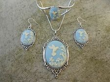 HUMMINGBIRD CAMEO NECKLACE. BRACELET, AND EARRINGS JEWELRY SET -- QUALITY!!!