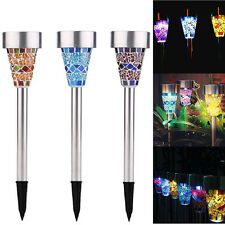 3er Set LED Solar Solarleuchte Mosaik Solarlampe Gartenlampe Glas Lampe Leuchte
