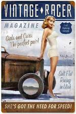 Pin Up Girl Vintage Racer Magazine Metal Sign Man Cave Body Shop Garage RB073