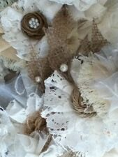 10 Fabric flowers. wedding.Hessian, pearls, lace. Vintage. Shabby-Chic.