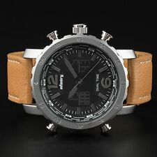 INFANTRY Mens LCD Digital Quartz Wrist Watch Chronograph Sport Brown Leather