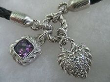 JUDITH RIPKA STERLING BRAIDED BLACK NECKLACE W 925 AMETHYST/DIAMONIQUE CHARMS