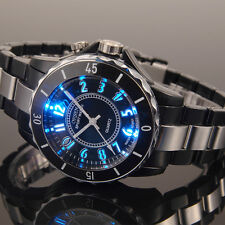 OHSEN Black 7 Color LED Quartz Analog Mens Plastic with Metal Wrist Band Watch