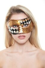 Vintage Venetian Mask | Masquerade Mask w/ Black Checkers w/ Gold Floral Designs