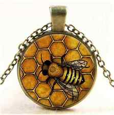 Vintage Queen Bee Photo Cabochon Glass Bronze Chain Pendant  Necklace