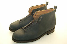 MAN - 43½ - 10½USA - ANKLE BOOT - STIVALE - REVERSO CALF - BLUE - RUBBER SOLE