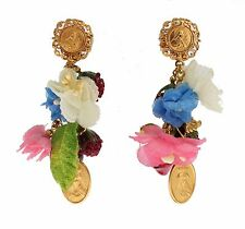 NWT DOLCE & GABBANA Earring Gold Floral Fruit Religious Maria Dangling Clip On
