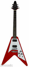 Texas Quincy Flying V guitare électrique style rouge Stockport showroom