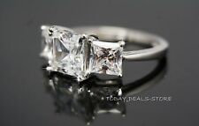 3.35 CTW PRINCESS CUT D/VVS THREE STONES ENGAGEMENT RING 14K WHITE GOLD
