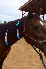 Horse Mane N Tail Feathers Rodeo Queen Barrel Racing Drill Team Bling White Blue