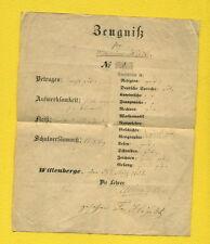 1858 - uralt SCHUL ZEUGNIS der Wilhelmine Hindt ( Hintz ) aus WITTENBERGE