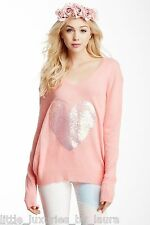 $189 NWT WILDFOX COUTURE White Label Bridgette's Heart Sequin Sweater Small S