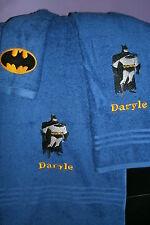 Batman Personalized 3 Piece Bath Towel Set  Super Hero Batman Your Color Choice