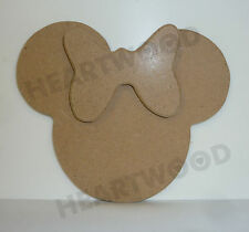 MINNIE MOUSE HEAD SHAPE IN MDF 110mm x 6mm/WOODEN CRAFT SHAPE/BLANK DECORATION
