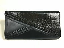 Kzeniya Asymmetric Black Patent Leather Envelope Clutch Handbag NEW SPR/SUM 2012