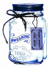 Swearing Clear Glass Savings Jar with Fines Tag - Novelty Money Mason Jar