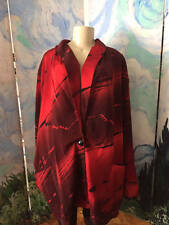 FITTING IMAGE PLUS 26W/28W RED/BLACK MIX POCKETS LINED LONG SLEEVE TUNIC JACKET