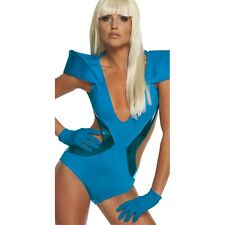 Adult's Blue Lady Gaga Gloves - Poker Face Accessory For Fancy Dress Costume