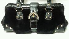 KATHY VAN ZEELAND Fur Satchel Black on Black Rhinestone Buckle Croc Shoulder Bag