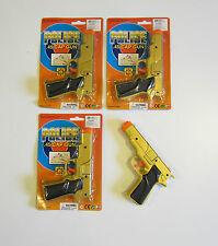 "3 NEW GOLD TOY CAP GUNS 7"" POLICE PISTOL DETECTIVE REVOLVER FIRES 8 RING CAPS"